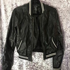 Wet Seal Black Leather Letterman Jacket